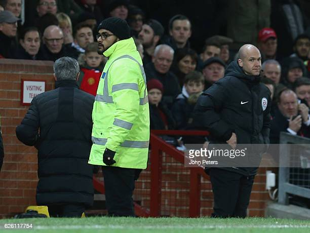 Manager Jose Mourinho of Manchester United is sent off after complaining to fourth official Anthony Taylor during the Premier League match between...
