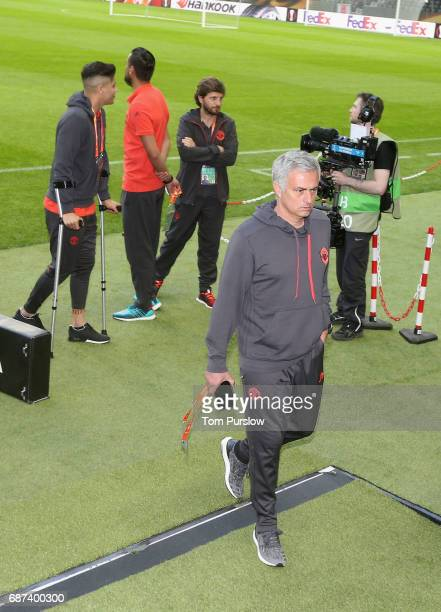 Manager Jose Mourinho of Manchester United leaves after a walk on the pitch ahead of the UEFA Europa League Final at Friends Arena on May 23 2017 in...