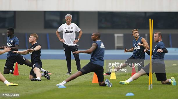 Manager Jose Mourinho of Manchester United looks on during the team training session for the 2016 International Champions Cup match between...