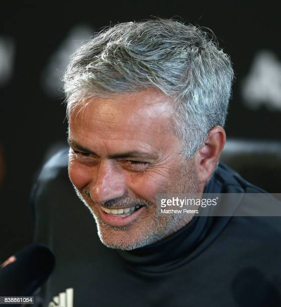 Manager Jose Mourinho of Manchester United speaks at a press conference at Aon Training Complex on August 25 2017 in Manchester England