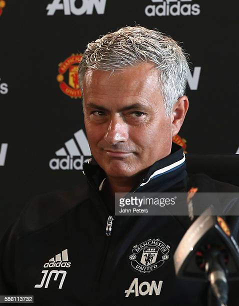 Manager Jose Mourinho of Manchester United speaks during a press conference at Aon Training Complex on August 5 2016 in Manchester England