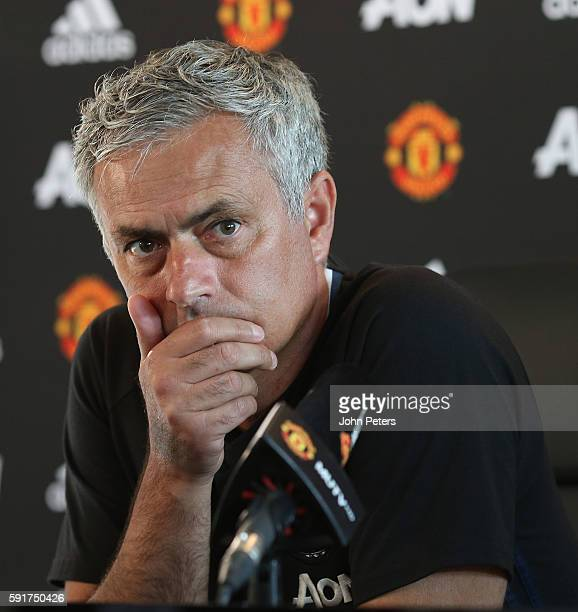 Manager Jose Mourinho of Manchester United speaks during a press conference at Aon Training Complex on August 18 2016 in Manchester England