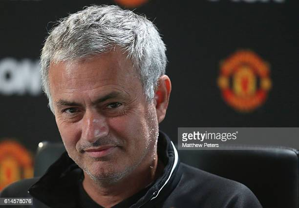 Manager Jose Mourinho of Manchester United speaks during a press conference at Aon Training Complex on October 14 2016 in Manchester England