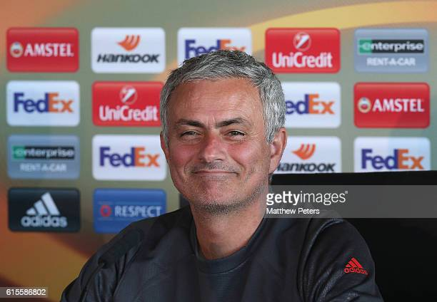 Manager Jose Mourinho of Manchester United speaks during a press conference at Aon Training Complex on October 19 2016 in Manchester England
