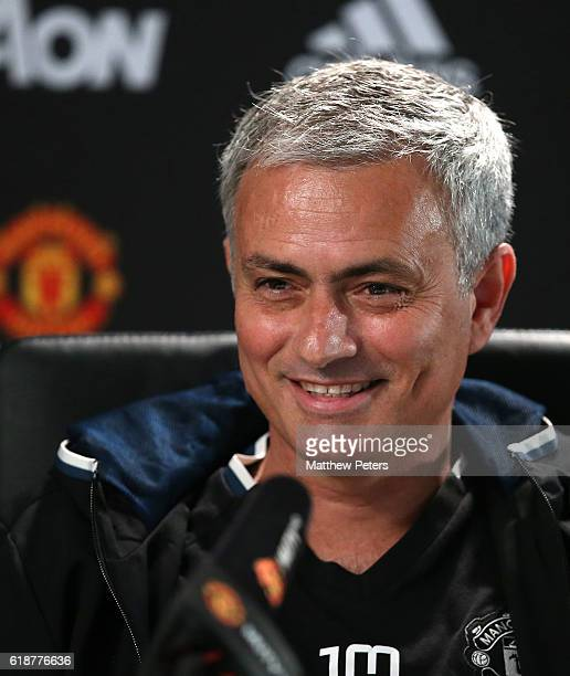 Manager Jose Mourinho of Manchester United speaks during a press conference at Aon Training Complex on October 28 2016 in Manchester England