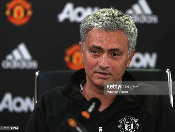 Manager Jose Mourinho of Manchester United speaks during a press conference at Aon Training Complex on December 2 2016 in Manchester England