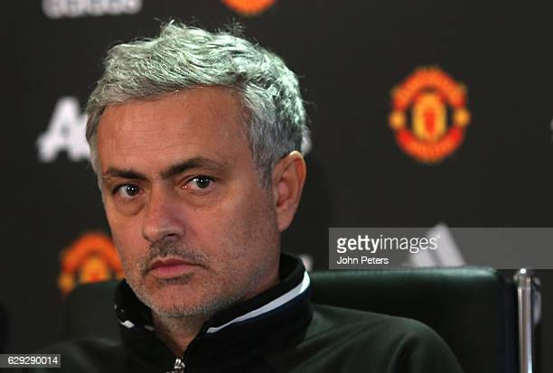 Manager Jose Mourinho of Manchester United speaks during a press conference at Aon Training Complex on December 12 2016 in Manchester England