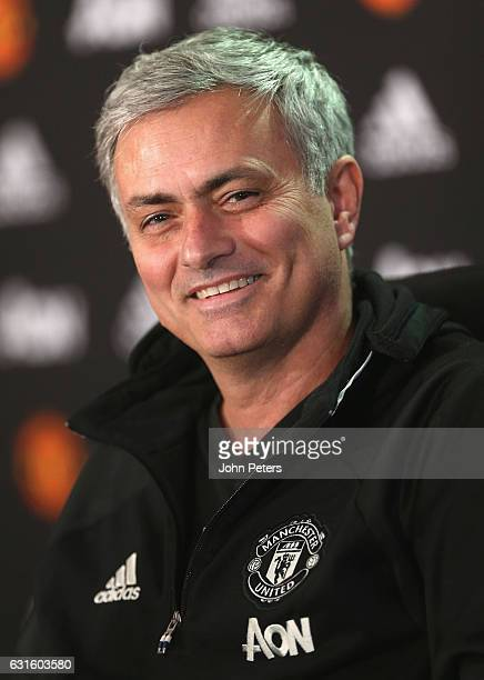 Manager Jose Mourinho of Manchester United speaks during a press conference at Aon Training Complex on January 13 2017 in Manchester England