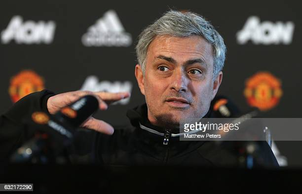 Manager Jose Mourinho of Manchester United speaks during a press conference at Aon Training Complex on January 20 2017 in Manchester England