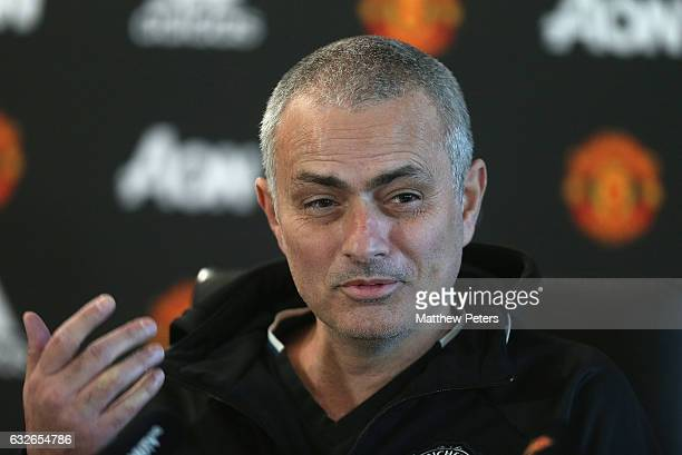 Manager Jose Mourinho of Manchester United speaks during a press conference at Aon Training Complex on January 25 2017 in Manchester England