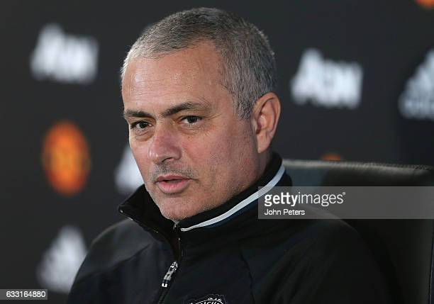Manager Jose Mourinho of Manchester United speaks during a press conference at Aon Training Complex on January 31 2017 in Manchester England