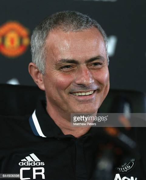 Manager Jose Mourinho of Manchester United speaks during a press conference at Aon Training Complex on February 24 2017 in Manchester England