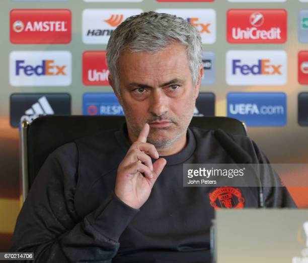 Manager Jose Mourinho of Manchester United speaks during a press conference at Aon Training Complex on April 19 2017 in Manchester United Kingdom