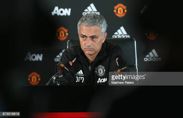 Manager Jose Mourinho of Manchester United speaks during a press conference at Aon Training Complex on April 26 2017 in Manchester England
