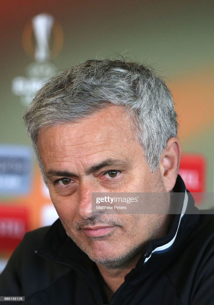 Manager Jose Mourinho of Manchester United speaks during a press conference at Aon Training Complex on May 19, 2017 in Manchester, England.