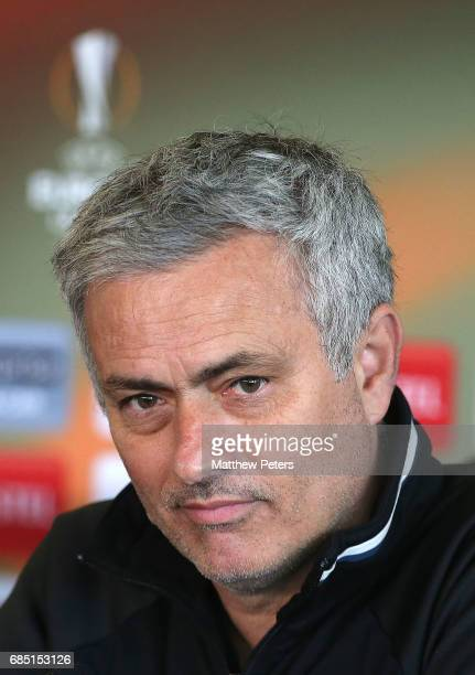 Manager Jose Mourinho of Manchester United speaks during a press conference at Aon Training Complex on May 19 2017 in Manchester England