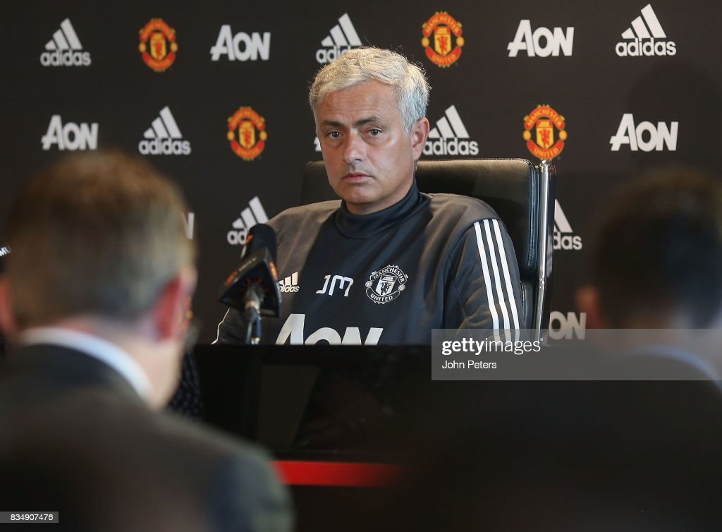 Manager Jose Mourinho of Manchester United speaks during a press conference at Aon Training Complex on August 18, 2017 in Manchester, England.