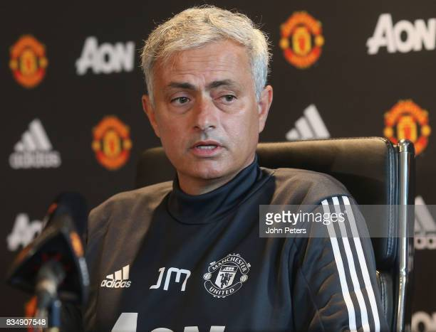 Manager Jose Mourinho of Manchester United speaks during a press conference at Aon Training Complex on August 18 2017 in Manchester England