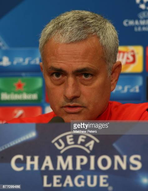 Manager Jose Mourinho of Manchester United speaks during a press conference at St Jacob Stadium on November 21 2017 in Basel Switzerland