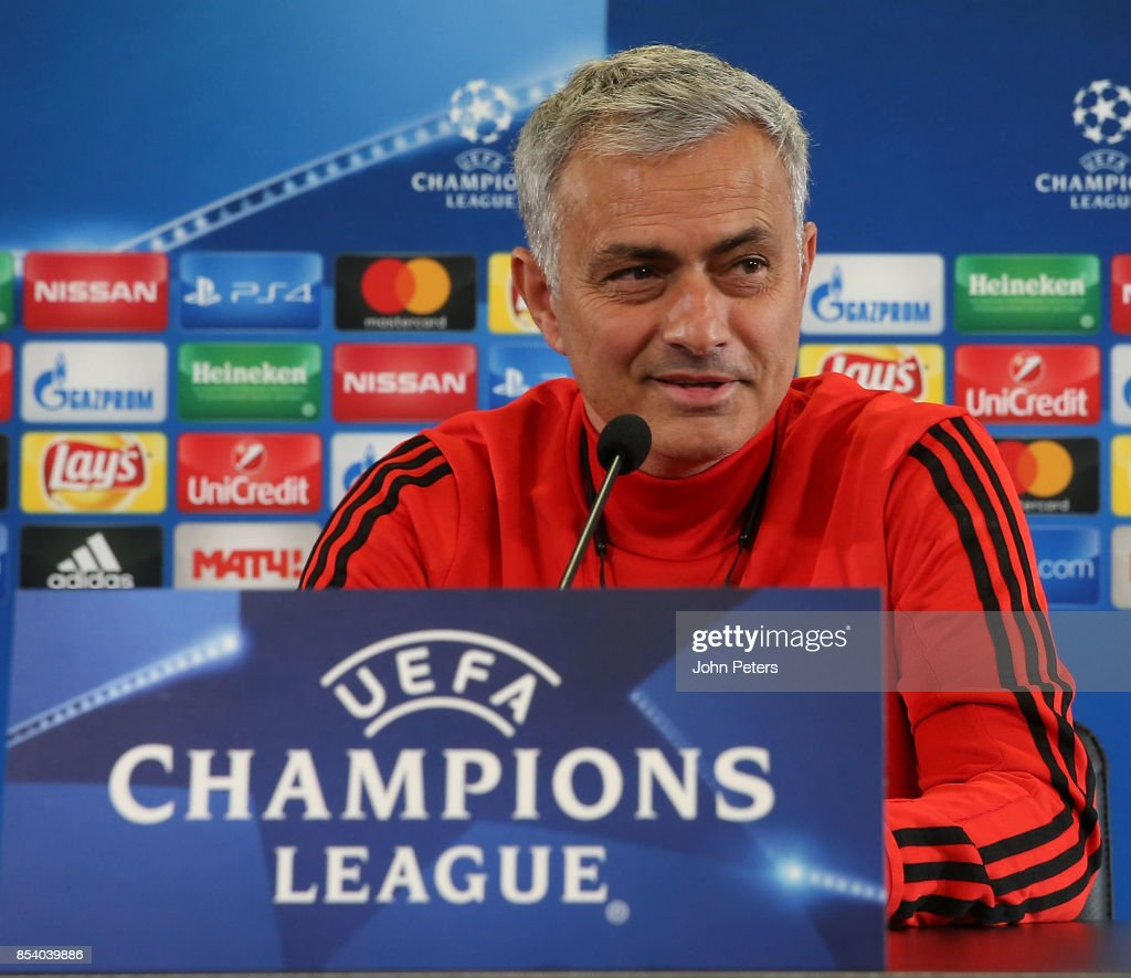 Manager Jose Mourinho of Manchester United speaks during a press conference ahead of their UEFA Champions League match against CSKA Moscow at VEB Arena on September 26, 2017 in Moscow, Russia.