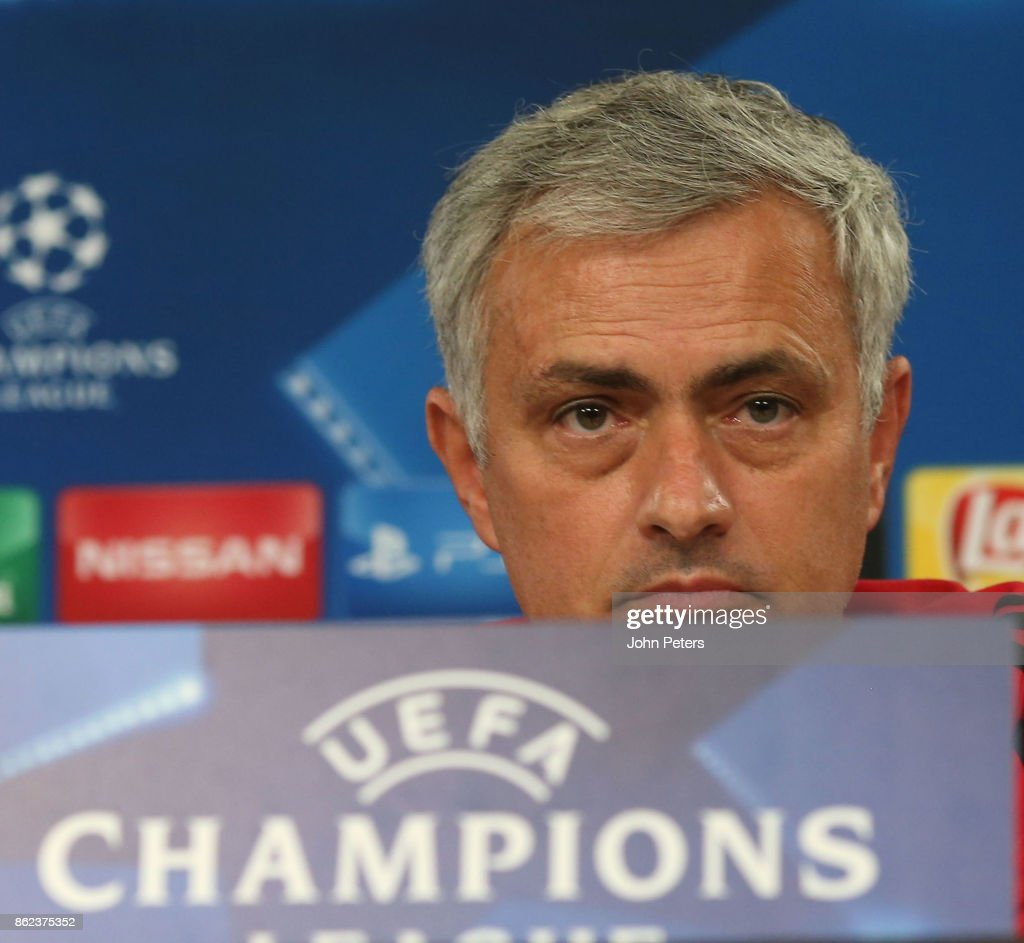 Manager Jose Mourinho of Manchester United speaks during a press conference ahead of their UEFA Champions League match against Benfica on October 17, 2017 in Lisbon, Portugal.