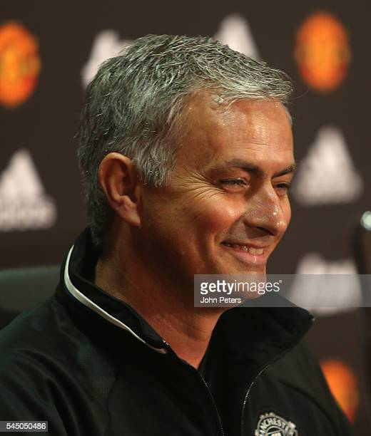 Manager Jose Mourinho of Manchester United speaks during a press conference after being officially unveiled as Manchester United manager at Old...