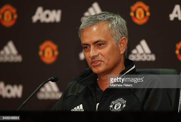 Manager Jose Mourinho of Manchester United speaks during a press conference to announce his arrival as Manchester United manager at Old Trafford on...