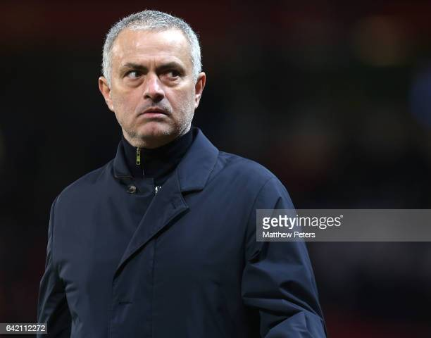 Manager Jose Mourinho of Manchester United walks off after the UEFA Europa League Round of 32 first leg match between Manchester United and AS...