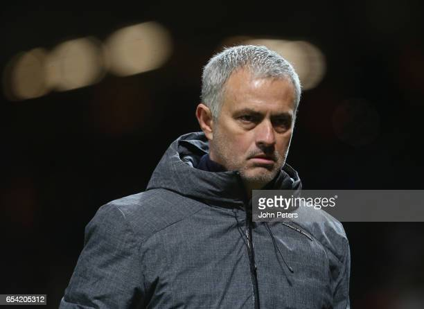 Manager Jose Mourinho of Manchester United walks off after the UEFA Europa League Round of 16 second leg match between Manchester United and FK...