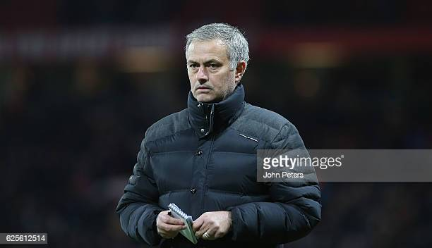 Manager Jose Mourinho of Manchester United walks off at halftime duringthe UEFA Europa League match between Manchester United FC and Feyenoord at Old...