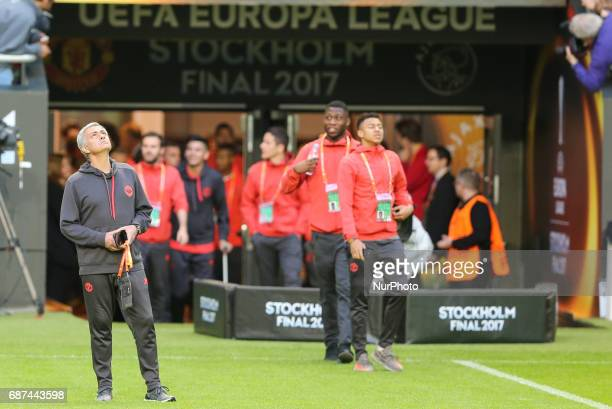 Manager Jose Mourinho of Manchester United walks on the pitch ahead of the UEFA Europa League Final at Friends Arena on May 23 2017 in Stockholm...