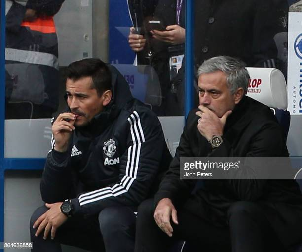 Manager Jose Mourinho of Manchester United watches from the bench during the Premier League match between Huddersfield Town and Manchester United at...
