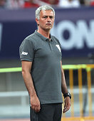 Manager Jose Mourinho of Manchester United watches from the touchline during the preseason friendly match between Manchester United and Borussia...
