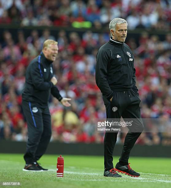 Manager Jose Mourinho of Manchester United watches from the touchline during the Wayne Rooney Testimonial match between Manchester United and Everton...