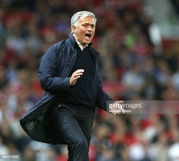 Manager Jose Mourinho of Manchester United watches from the touchline during the Premier League match between Manchester United and Southampton at...