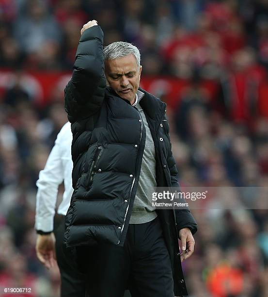 Manager Jose Mourinho of Manchester United watches from the touchline during the Premier League match between Manchester United and Burnley at Old...