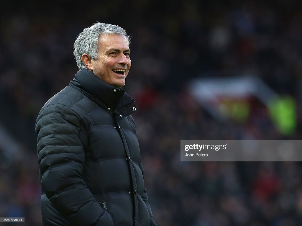 Manager Jose Mourinho of Manchester United watches from the touchline during the Premier League match between Manchester United and Middlesbrough at Old Trafford on December 31, 2016 in Manchester, England.