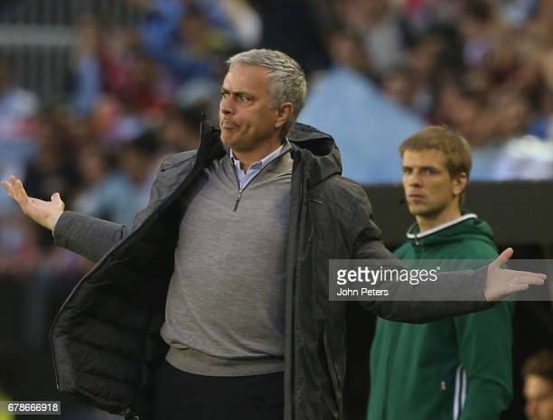 Manager Jose Mourinho of Manchester United watches from the touchline during the UEFA Europa League semifinal first leg match between Celta Vigo and...