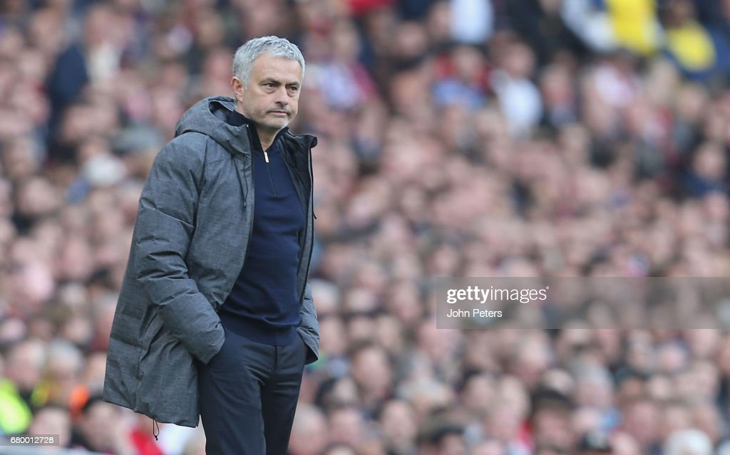Manager Jose Mourinho of Manchester United watches from the touchline during the Premier League match between Manchester United and Arsenal at Emirates Stadium on May 7, 2017 in London, England.
