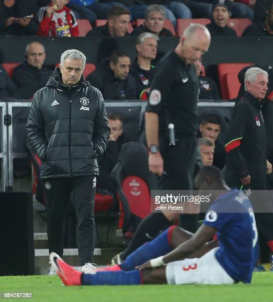 Manager Jose Mourinho of Manchester United watches from the touchline as Eric Bailly lies injured during the Premier League match between Southampton...