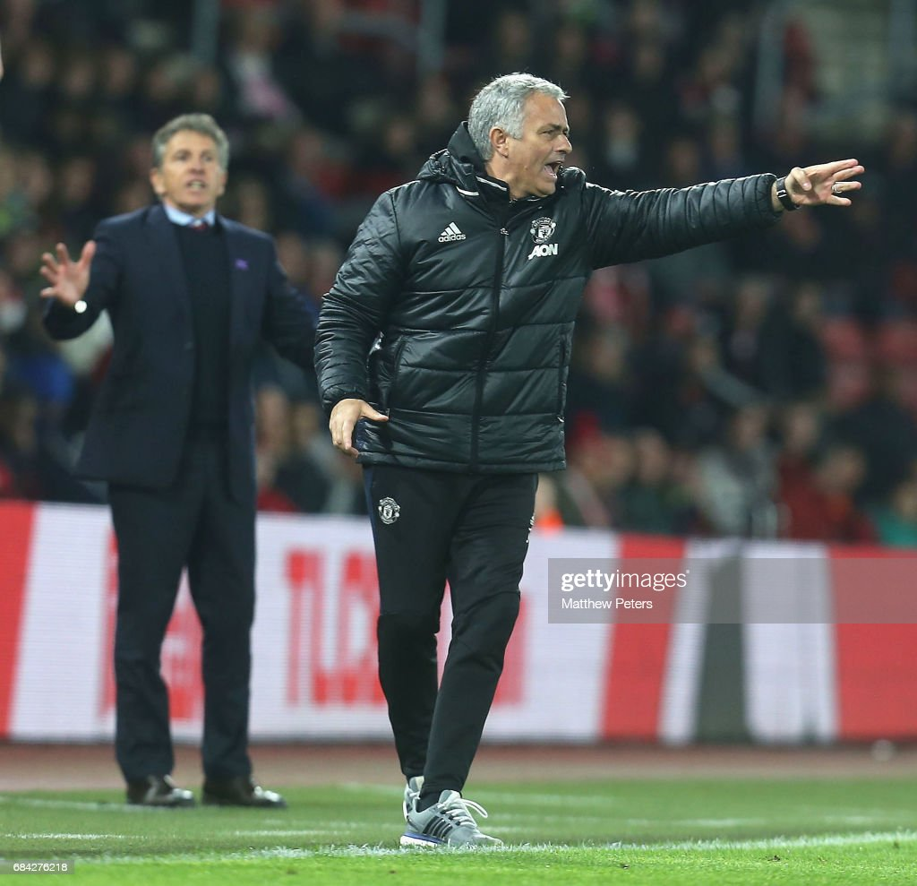 Manager Jose Mourinho of Manchester United watches from the touchline during the Premier League match between Southampton and Manchester United at St Mary's Stadium on May 17, 2017 in Southampton, England.