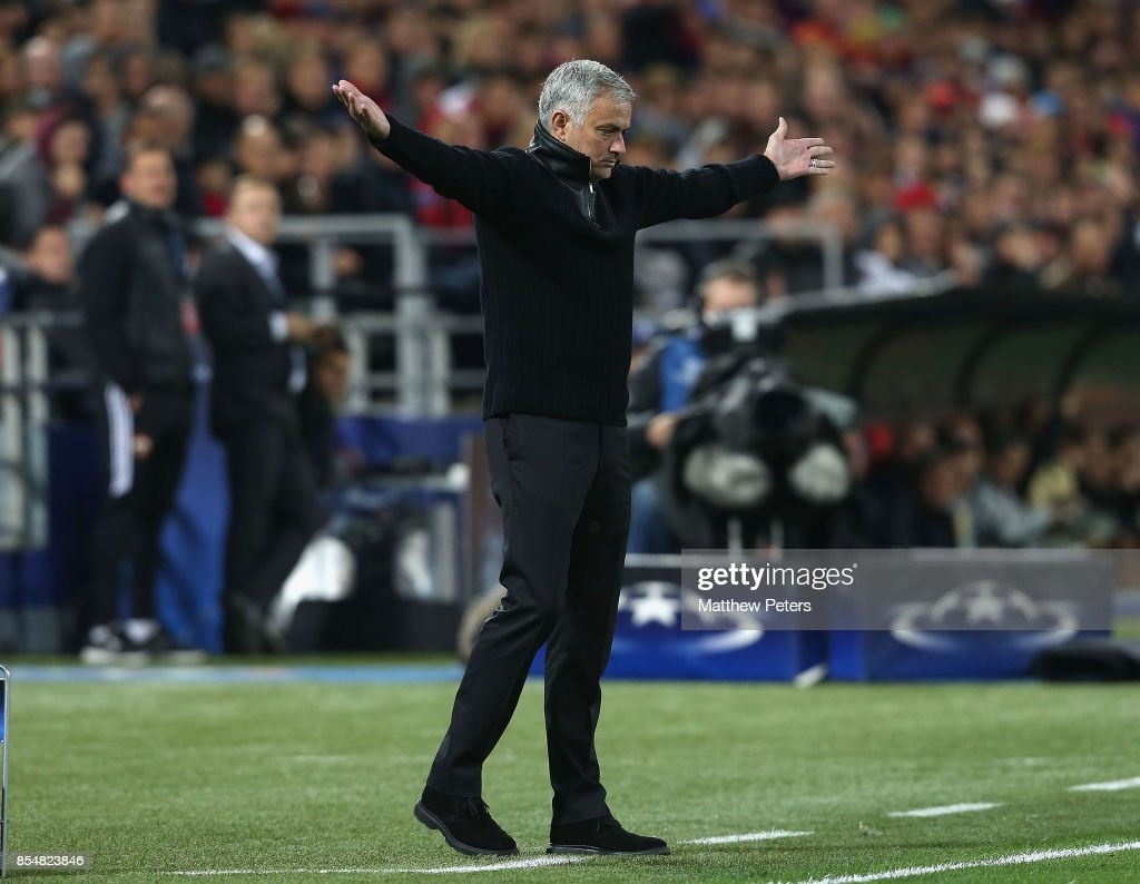 Manager Jose Mourinho of Manchester United watches from the touchline during the UEFA Champions League group A match between CSKA Moskva and Manchester United at WEB Arena on September 27, 2017 in Moscow, Russia.