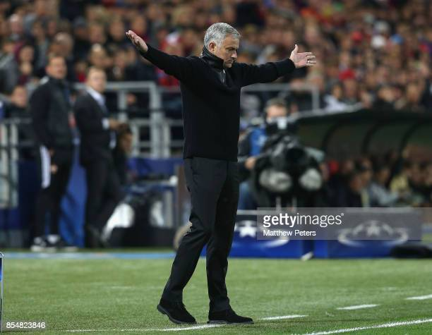 Manager Jose Mourinho of Manchester United watches from the touchline during the UEFA Champions League group A match between CSKA Moskva and...