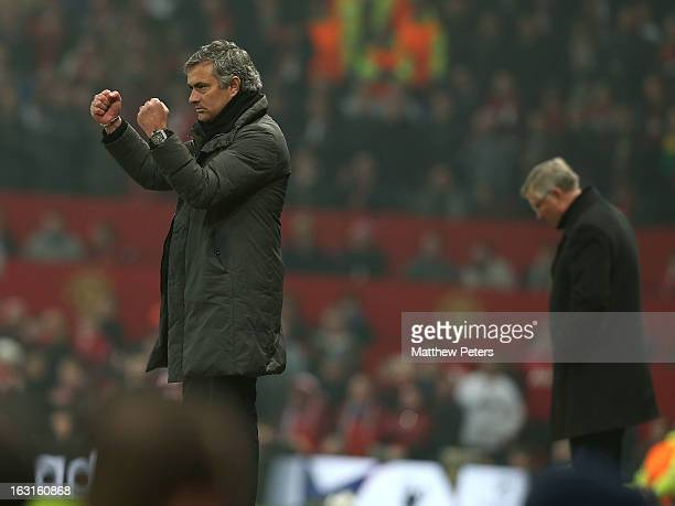 Manager Jose Mourinho of Real Madrid celebrates during the UEFA Champions League match between Manchester United and Real Madrid at Old Trafford on...