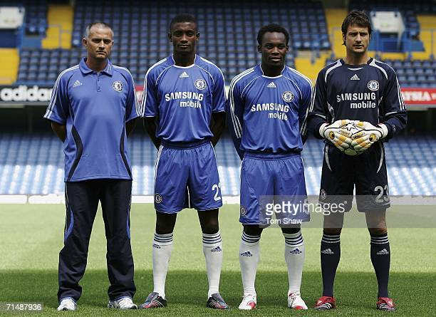 Manager Jose Mourinho Salomon Kalou Michael Essien and Carlo Cudicini model the new Chelsea kit at the Chelsea Football Club Kit Launch Press...