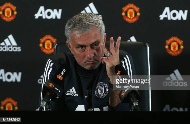 Manager Jose Mourinho speaks during a press conference at Aon Training Complex on September 15 2017 in Manchester England