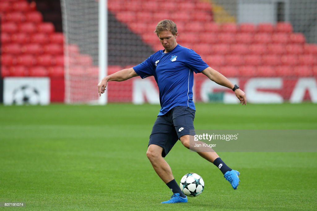 Manager Julian Nagelsmann looks on during the 1899 Hoffenheim Training Session at Anfield on August 22, 2017 in Liverpool, England. The second leg of the UEFA Champions League qualifier between Liverpool and Hoffenheim will take place on August 23rd.