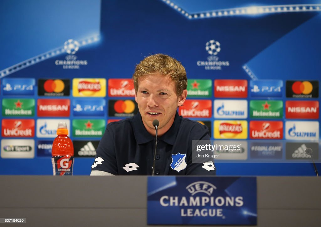 Manager Julian Nagelsmann speaks to the media during the 1899 Hoffenheim Press Conference at Anfield on August 22, 2017 in Liverpool, England. The second leg of the UEFA Champions League qualifier between Liverpool and Hoffenheim will take place on August 23rd.