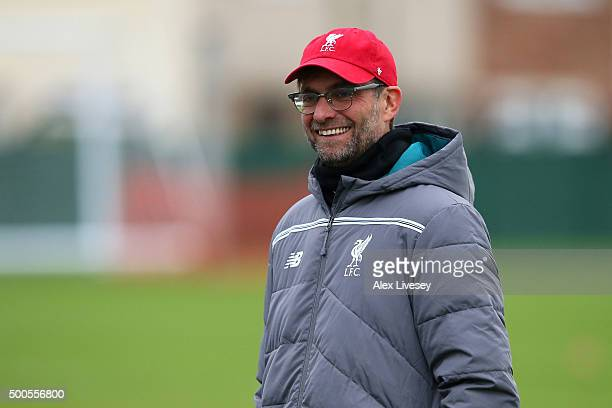 Manager Jurgen Klopp looks on during the Liverpool training session at the Melwood training ground on December 9 2015 in Liverpool England