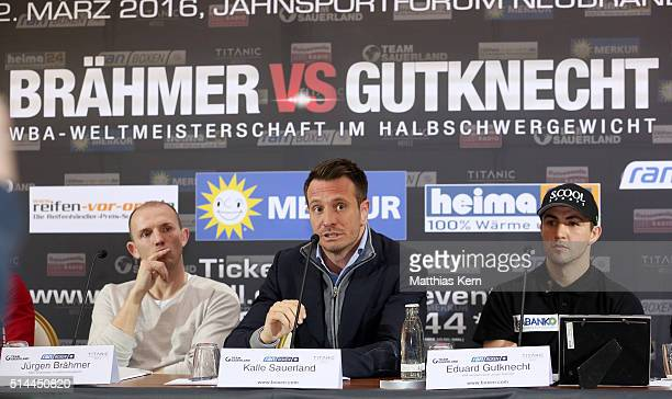 Manager Kalle Sauerland holds a speach during a press conference at hotel Titanic ahead of the WBA Light Heavyweight World Championship title fight...
